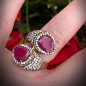 Jewelry - Ruby RING Size 9.5 Solid 925 Sterling Silver/Gold